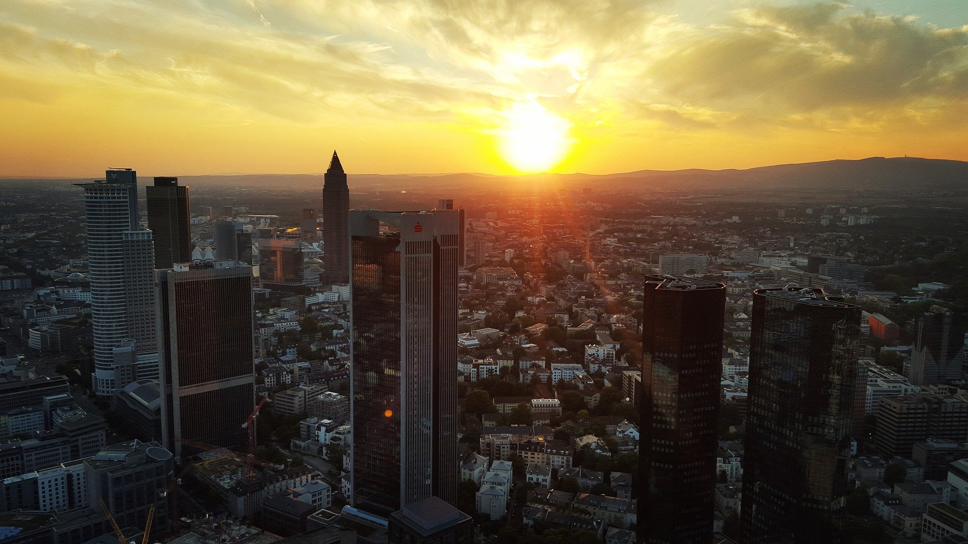 Frankfurt High Risers at Sunset